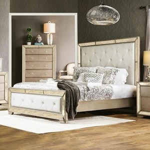 Queen Panel Bed with Upholstered Headboard and Footboard