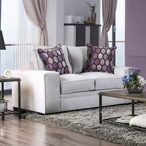 Transitional Love Seat with Bold Track Arms