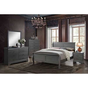 Queen Bed and 1NS and Dresser and Mirror