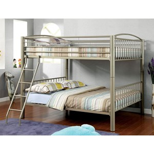 Transitional Metallic Gold Full Over Full Youth Bunk Bed