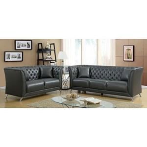 Transitional Tuxedo Sofa and Loveseat Set
