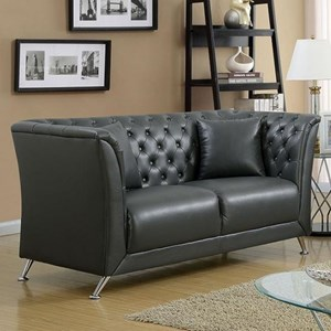 Transitional Tuxedo Loveseat with Button Tufting