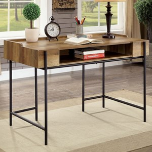 Industrial Wood and Metal Desk with Floating Design and Open Shelf