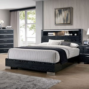 Contemporary Queen Panel Bed with Headboard Storage and Chrome Accents