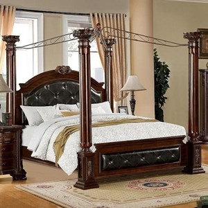 Traditional California King Canopy Bed with Upholstered Headboard