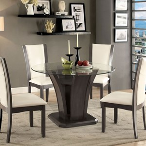 Transitional Round Dining Table with Glass Top