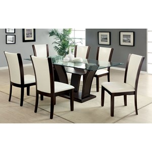 7 Piece Dining Set with Rectangular Table and White Leather Chairs