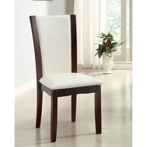 Set of 2 Side Chairs with Espresso Wood Finish and Faux Leather Seat