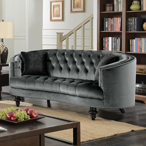 Traditional Love Seat with Glam Detailing