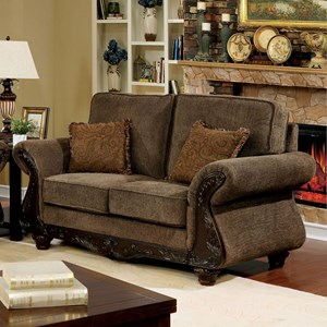 Traditional Loveseat with Wood Trim