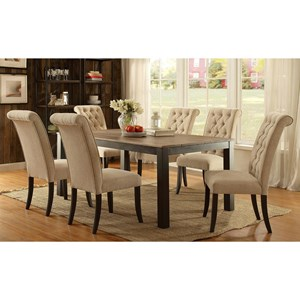 Contemporary 7 Piece Dining Set with Button Tufted Chairs