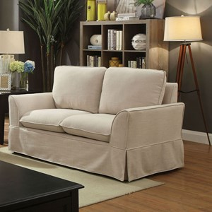 Skirted Love Seat with Flared Arms