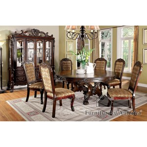 Round Table and Six Side Chairs