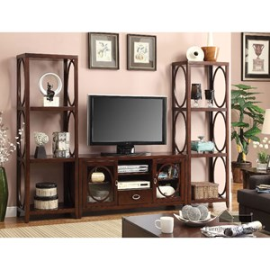 Transitional Entertainment Wall with 12 Shelves