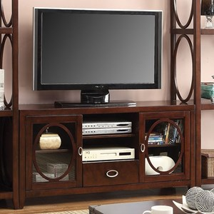 Transitional TV Console with 6 Shelves
