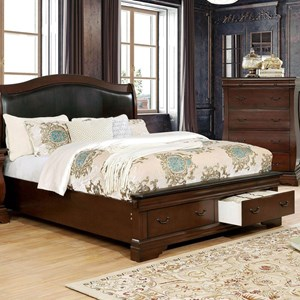 Traditional European Inspired California King Bed with Upholstered Headboard and Footboard Storage Drawers