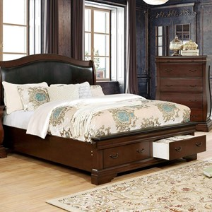 Traditional European Inspired King Bed with Upholstered Headboard and Footboard Storage Drawers