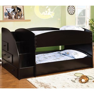 Youth Bedroom Twin Over Twin Bunk Bed with Built-In Storage and Stairs