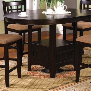 Transitional Oval Counter Height Table with Storage and 1 Table Extension Leaf