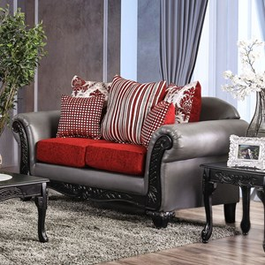 Traditional Love Seat with Decorative Wood Trim