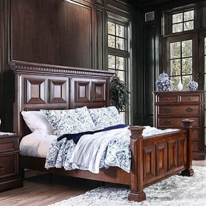 Traditional Panel Queen Bed with Footboard Posts