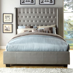 Contemporary California King Upholstered Bed with Button Tufted Back