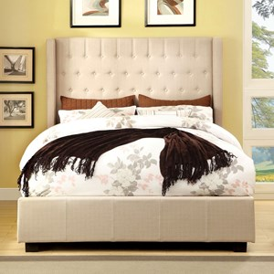 Contemporary King Upholstered Bed with Button Tufted Back