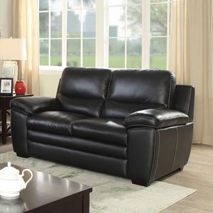 Casual Leather Match Loveseat