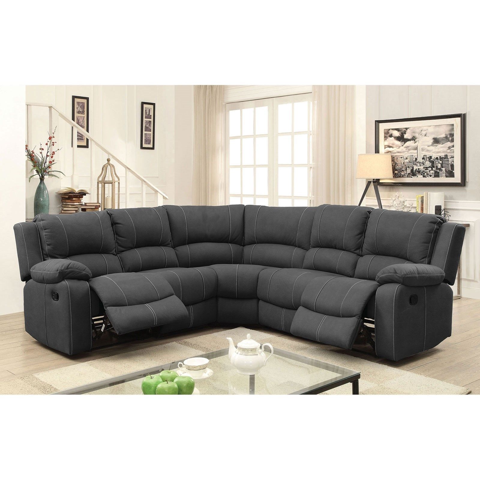 Monique Reclining Sectional by Furniture of America at Dream Home Interiors