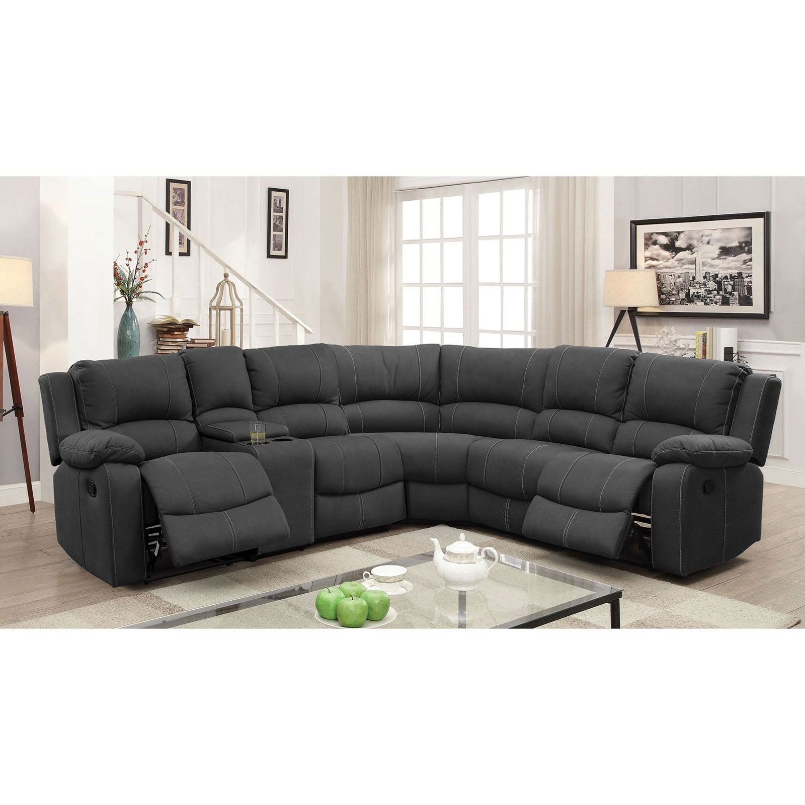 Monique Reclining Sectional w/ Console by Furniture of America at Nassau Furniture and Mattress