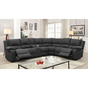 5 Seat Reclining Sectional Sofa with Three Drop Down Tables and Cupholder Storage Console