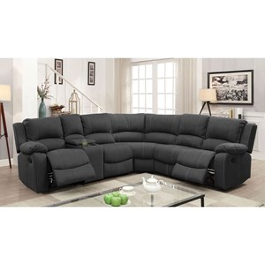 4 Seat Reclining Sectional Sofa with Two Drop Down Tables and Cupholder Storage Console