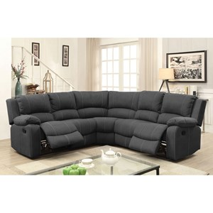 4 Seat Reclining Sectional Sofa with Two Drop Down Tables and Cupholders