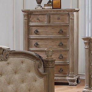 Traditional Chest of 5 Drawers with Felt-Lined Top Drawer
