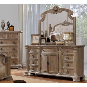 Traditional 9-Drawer Dresser and Mirror Combination with Felt-Lined Top Drawers
