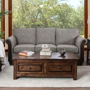 Transitional Sofa with Fluted Wood Trim