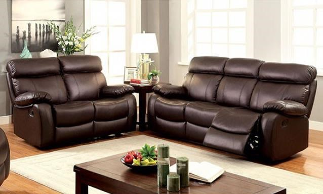 Myrtle Reclining Sofa and Loveseat Set by Furniture of America at Corner Furniture
