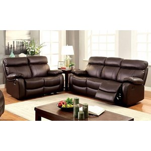 Casual Reclining Leather Match Sofa and Loveseat Set
