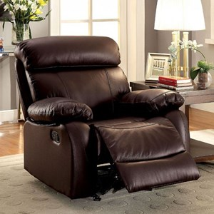 Casual Leather Match Glider Recliner