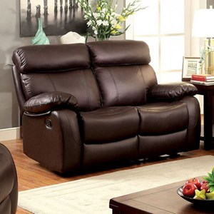 Casual Reclining Leather Match Loveseat