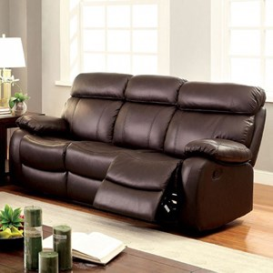 Casual Reclining Leather Match Sofa