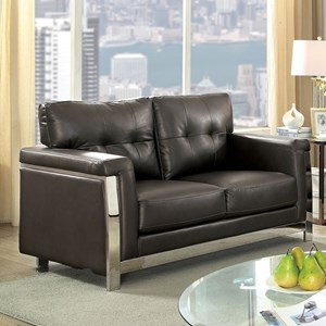 Contemporary Love Seat with Stainless Steel Frame