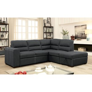 Sectional with Pull Out Sleeper and Storage