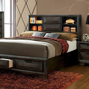 Contemporary Bookcase California King Bed with Sliding Door