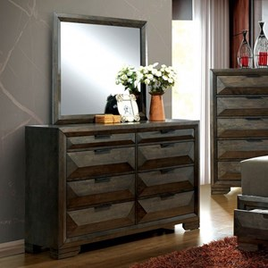 Dresser and Mirror Set with Felt-Lined Top Drawers