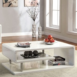 Contemporary Cocktail Table with Open Shelving