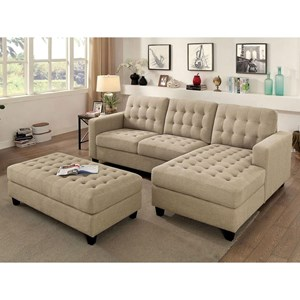 Tufted Sectional with Chaise and Ottoman Component