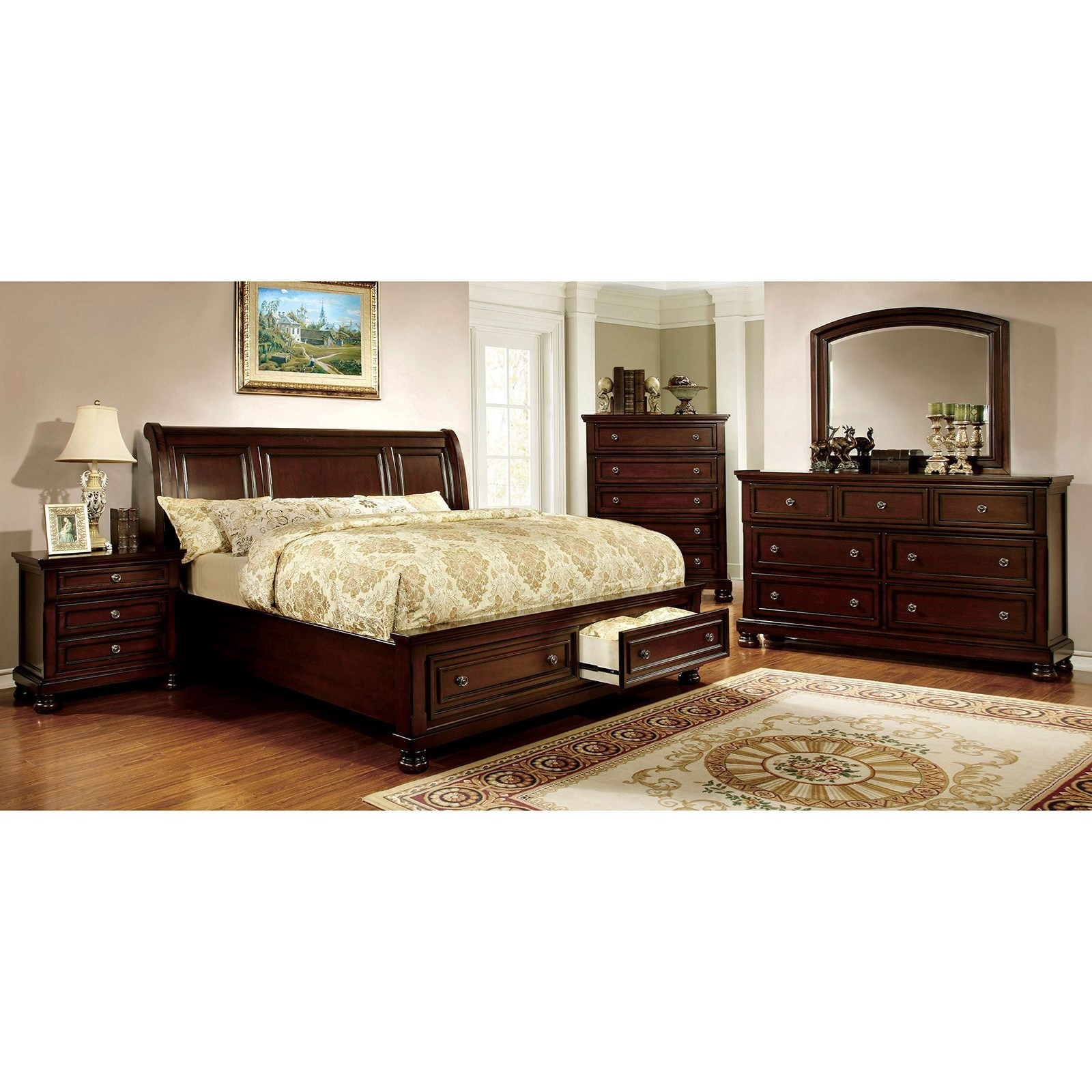 Northville Queen Bed and 1NS and Dresser and Mirror at Household Furniture