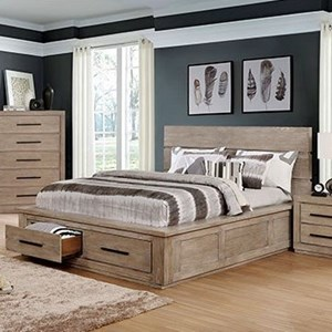 Transitional Rustic Queen Storage Bed with 2 Footboard Drawers