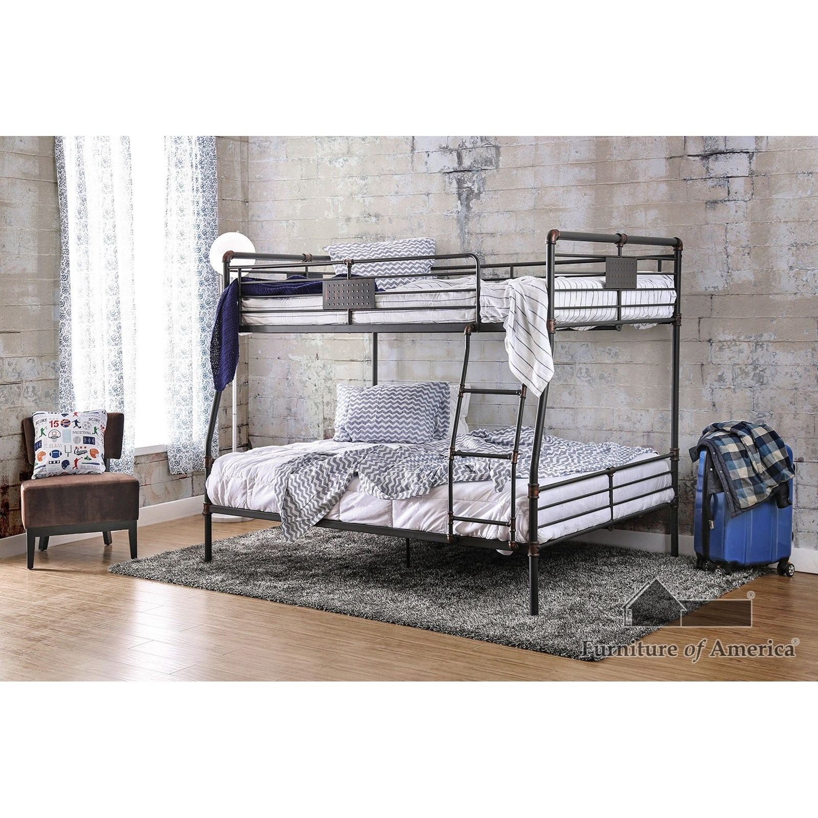 Olga I Full/Queen Bunk Bed by Furniture of America at Nassau Furniture and Mattress